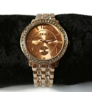 Womens Geneva Rose Gold Dial Luxury Watch